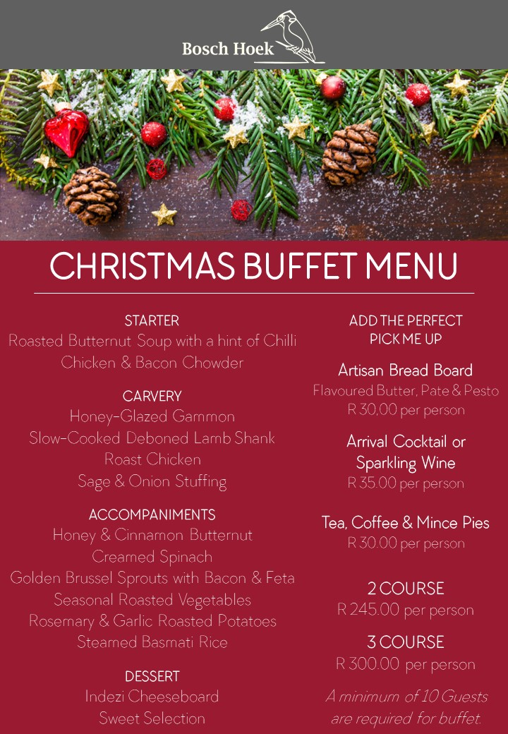 2018 End of Year Functions - Christmas Buffet Menu