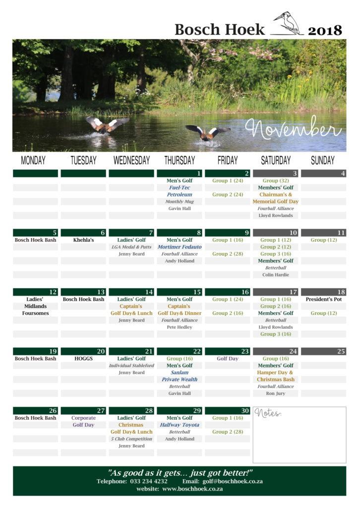 Bosch Hoek Golf Course - November 2018 Calendar