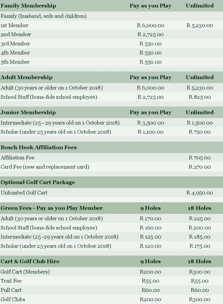 Membership and Green Fees 2018 2019