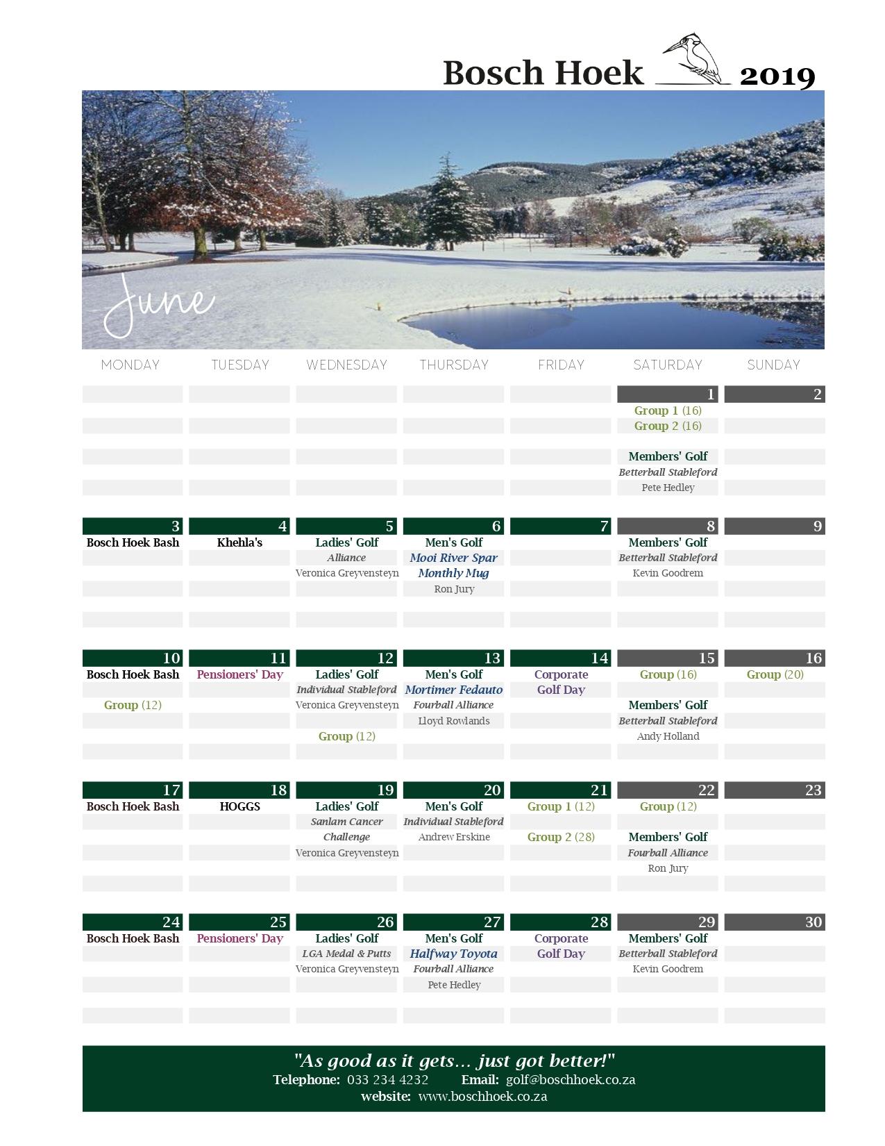 Bosch Hoek Golf Course - 2019 June Calendar