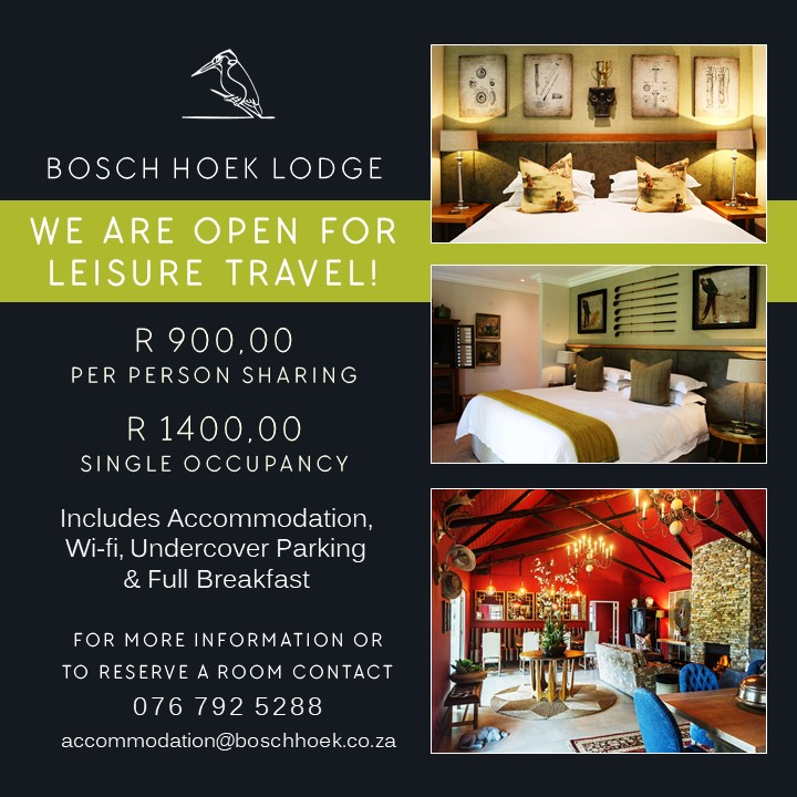 2020 Bosch Hoek Lodge - We Are Open for Leisure Travel