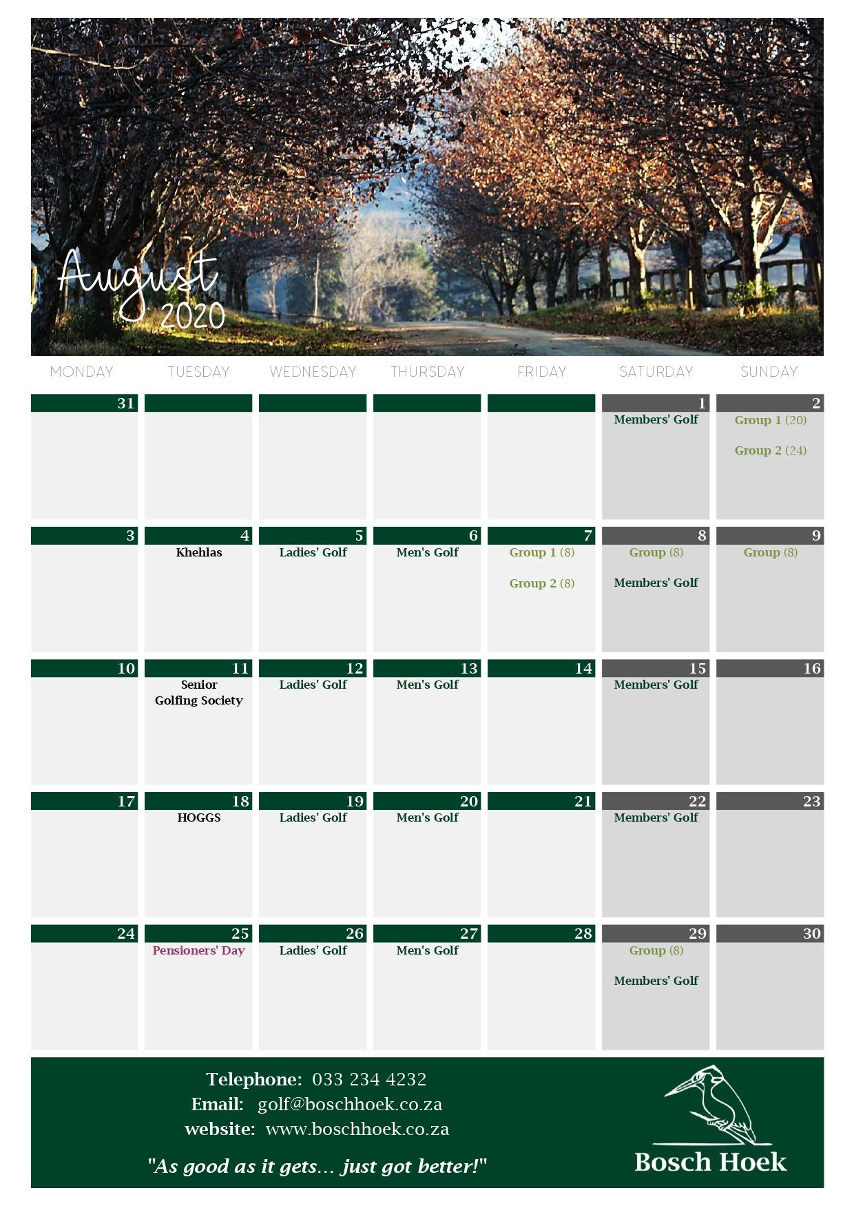 Bosch Hoek Golf Course - 2020 August Calendar