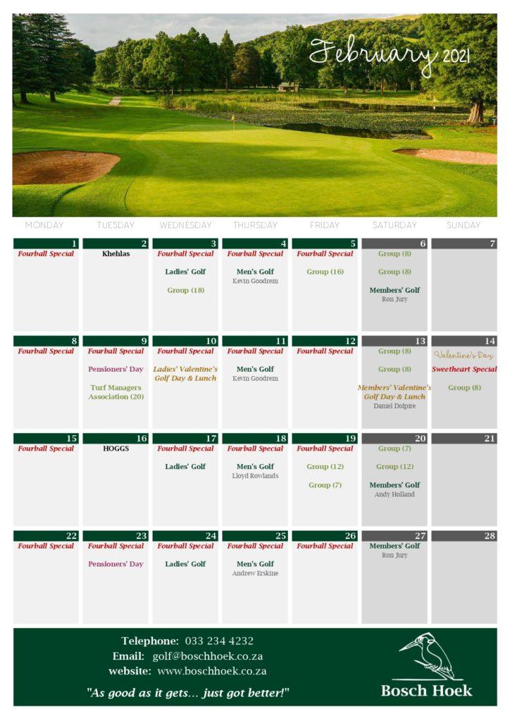 Bosch Hoek Golf Course - 2021 February Calendar